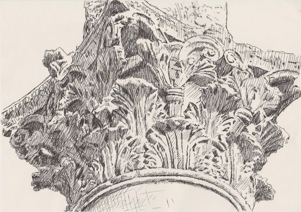 Palmyra Column Capital. 2017. Syrian ash ink on paper. 21 x 30cm Copy