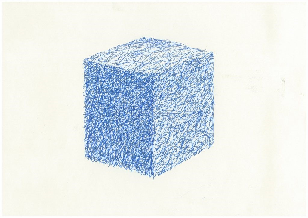 Bound (paint wire cube) Ink on paper. 21 x 29.5cm