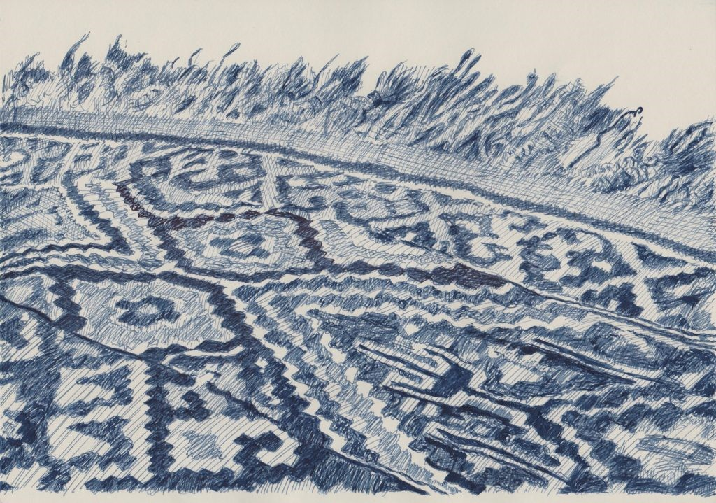 Kurdish Kilim. Indigo ink on paper 21 x 29.5cm