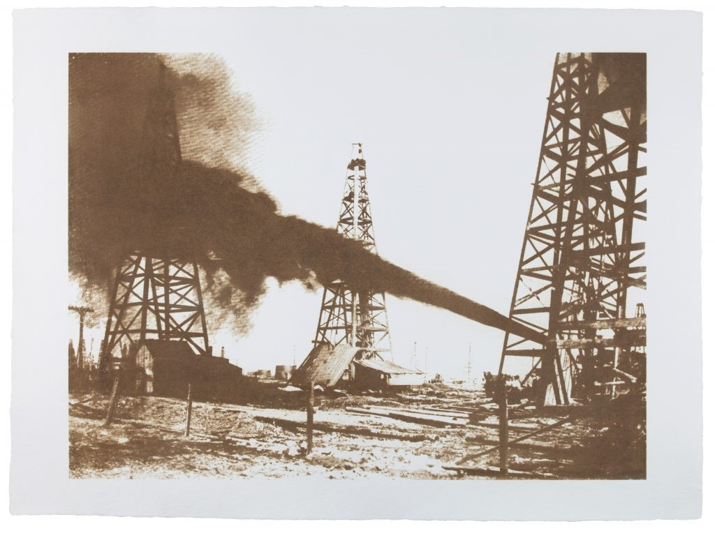 Spindletop, 1906. 2015. Texas crude oil and varnish on hand made paper