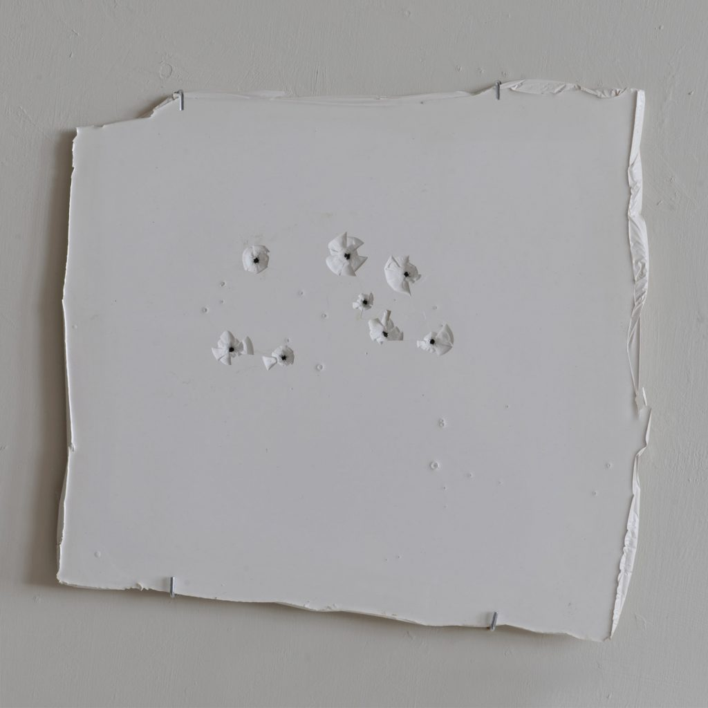 Jamaican-Trafficker-Bullet-Holes-2012-Industrial-floor-paint-42-x-43-x-2cm