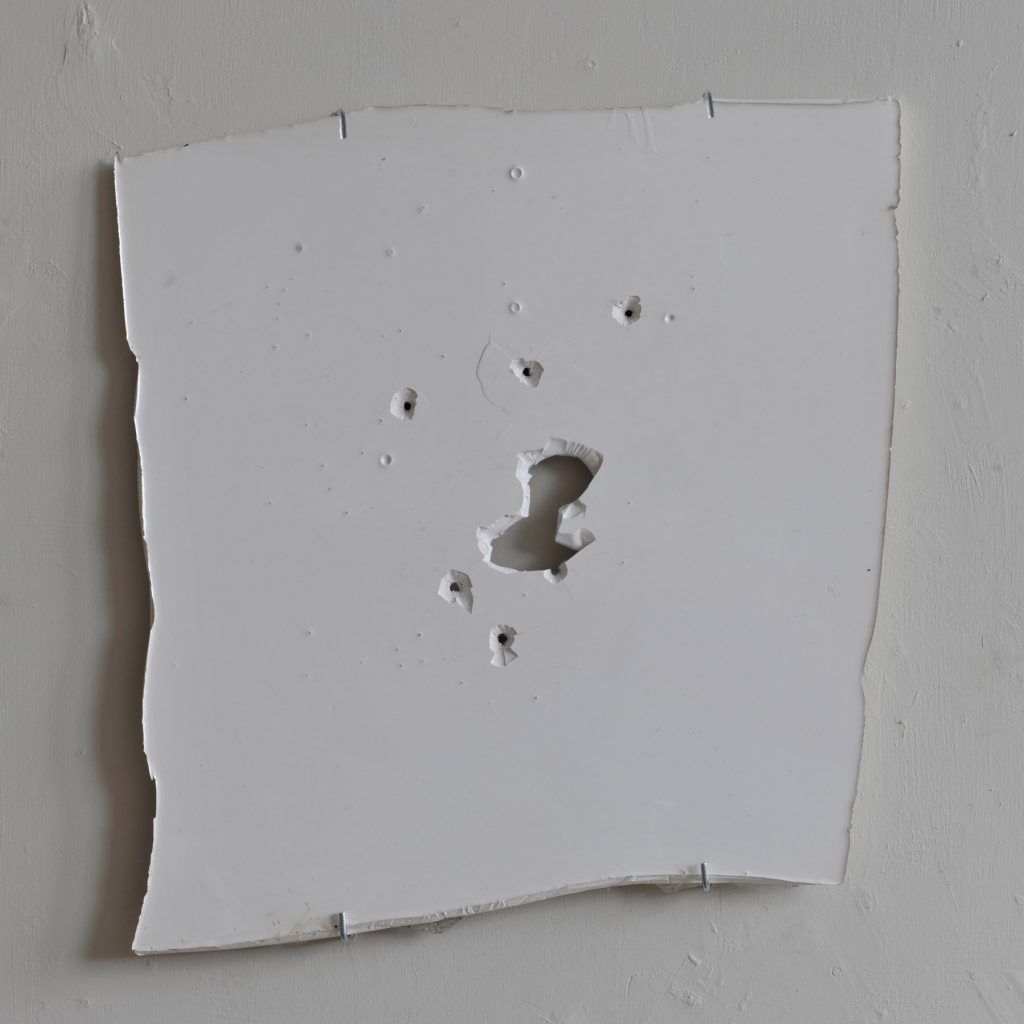 Jamaican-Trafficker-Bullet-Holes-2012-Industrial-floor-paint-43-x-42-x-2cm