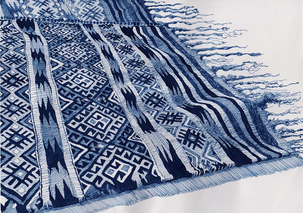 Kurdish Kilim - indigo ink on paper