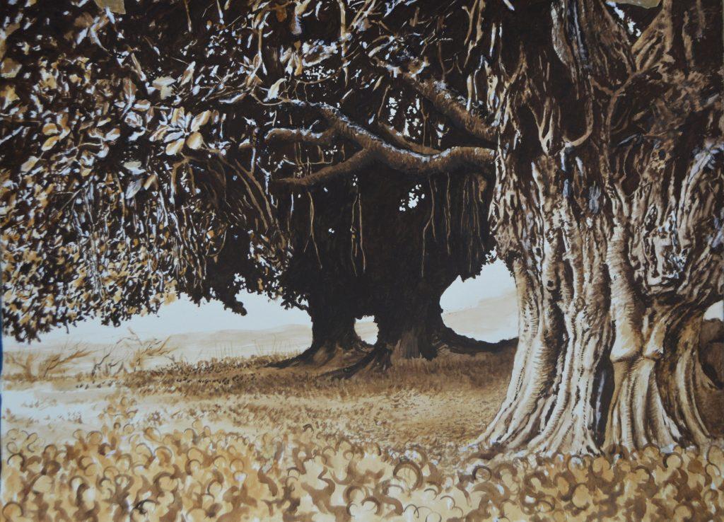 911 Steel Beam Rust Drawing (Abbottabad Ancient Trees) 2021 Steel beam rust ink on paper 56 x 76cm